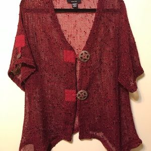 Wine 2 buttons in front cardigan